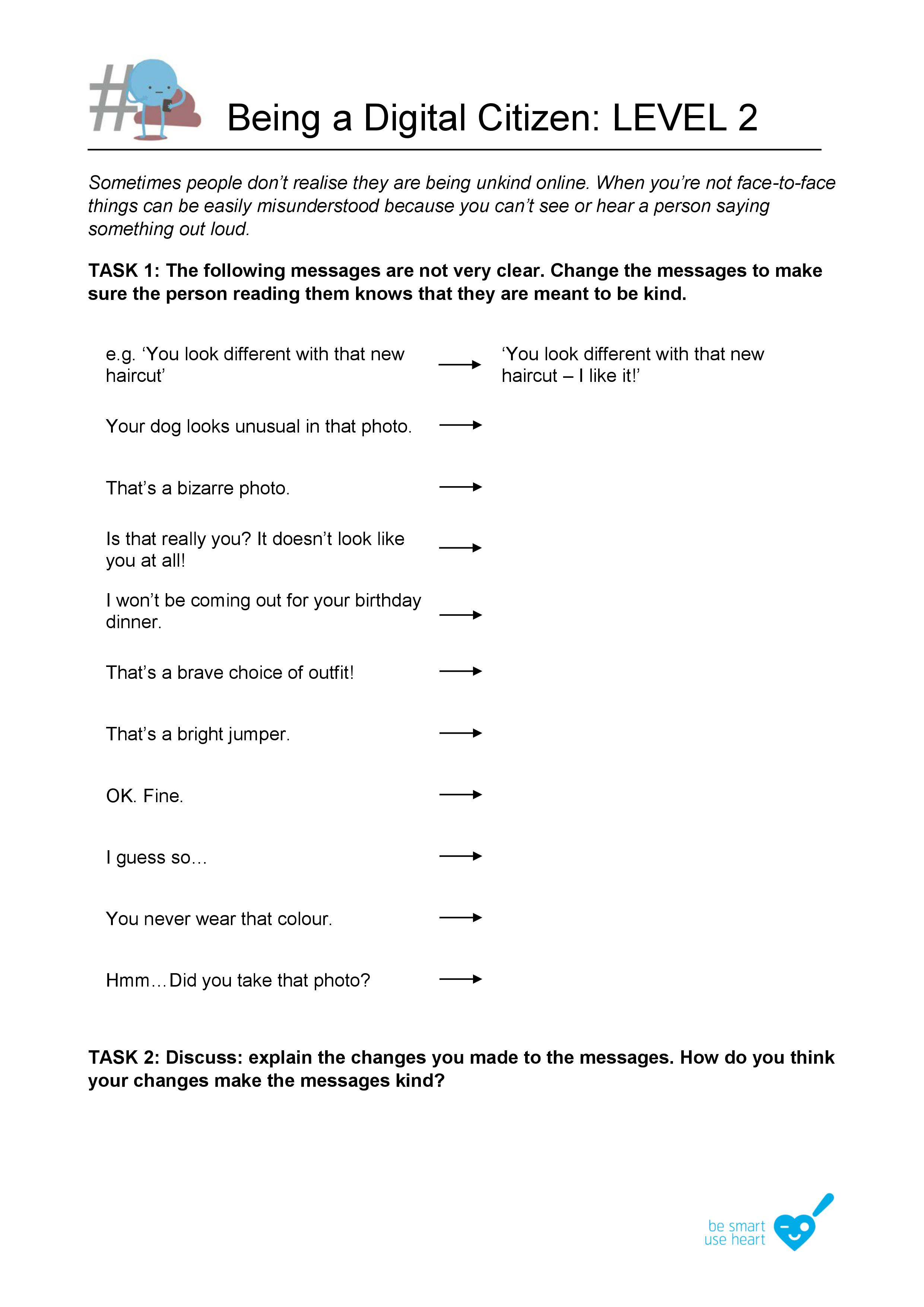 Level 2 Kindness Worksheet